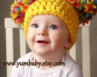 Toddler Baby Girl Hat Chunky Yellow Pink White Blue Purple pastel Crochet Knit Infant Double Pom Pom Beanie Photography Prop