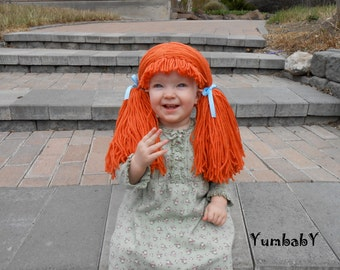 doll wig cabbage patch inspired baby hat baby girl halloween costume pageant hair yarn