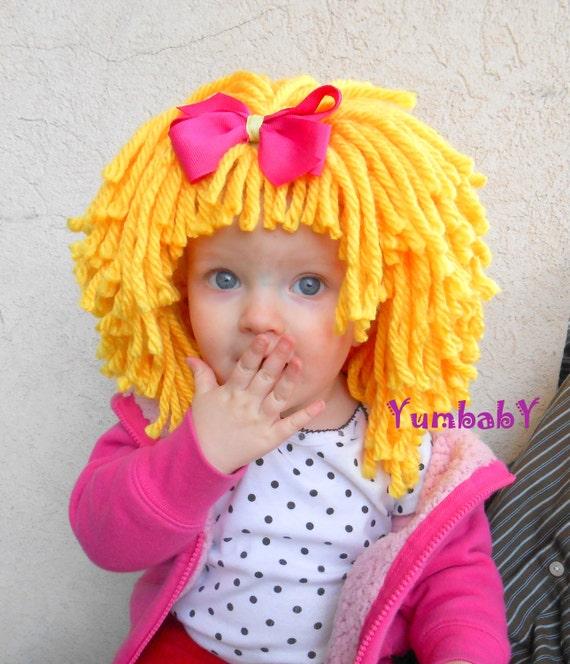 Yellow Wig Halloween Costume Baby Hat  Baby Costume Baby Hats Toddler Costume Baby Girl Princess Costume Yellow Hair Wig