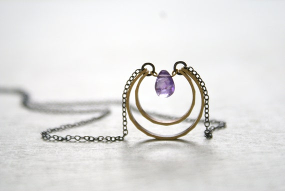 Amethyst Moon Drop necklace