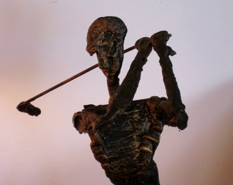 Brutalist Jaru of California sculpture from the mid century depicts a golfer Giacometti, Paul Evans, Curtis Jere, Eames era