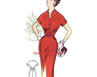 Plus Size (or any size) Vintage 1950s Dress Pattern - PDF - Pattern No 58 Diana