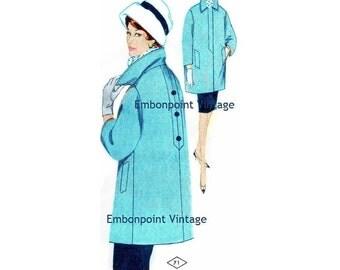 Plus Size (or any size) Vintage 1969 Coat Pattern - PDF - Pattern No 71 Sandy