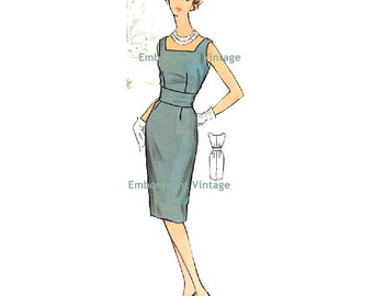 Plus Size (or any size) Vintage 1950s Dress Pattern - PDF - Pattern No 76 Rita