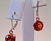 Padparadscha Sapphire and Sterling Silver Earrings