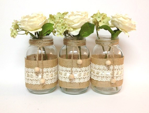 Items similar to 3 burlap and lace mason jars - home decor, wedding decor,  country style vases, unique decor on Etsy