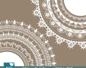 Lace Circle Frames - Digital Clipart / Scrapbooking - card design, invitations, paper crafts, web design - INSTANT DOWNLOAD