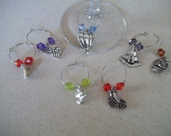 Wizard of Oz themed wine charms with colorful beads - hot air balloon witch hat broom rainbow slippers
