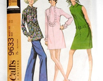 Sewing pattern mini dress or top & pants McCalls 9633 misses size 12 vintage from 1969 mod UNCUT