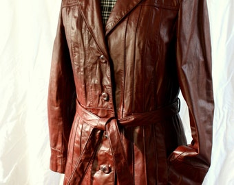 Red Leather Trench Coat, Wilsons, vintage 1970s, size small-medium (6-12)