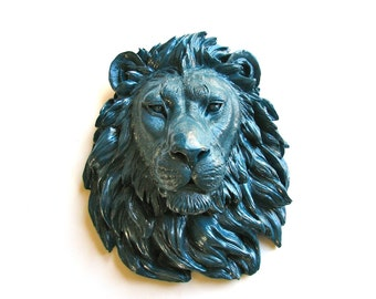 DARK WAVE Faux Taxidermy Large Lion Head Wall Mount/Wall Hanging: Leonard the Lion in dark wave blue