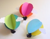 Hot Air Balloon Decorations - Set of 3- Choose your Colours - Baby Shower Decoration - Kids Party Decoration - Crib Mobile - Bright Nursery