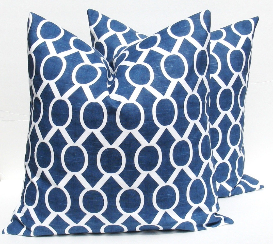 Navy Blue Decorative Pillow Covers : Blue Pillow Navy Blue Pillow Throw Pillow Covers by EastAndNest