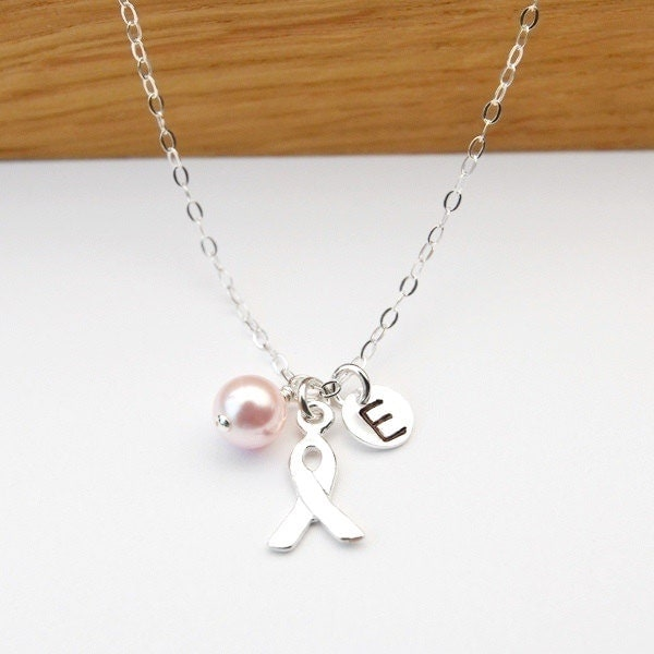 Breast Cancer Jewelry Breast Cancer Necklace Custom Initial