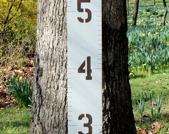 Growth Chart for Children Distressed Wood With Painted Numbers and Lines
