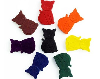 Cat crayons, set of 8, kids gift, party favour