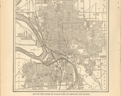 Vintage Street Map, Kansas City in Black and White 1927 City Map