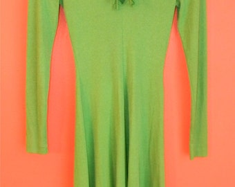 Vintage Fairy Green Long Sleeve Renaissance Front Tie Bodice St. Patrick's Day Stretchy Lightweight XS S Extra Small Dress Frock