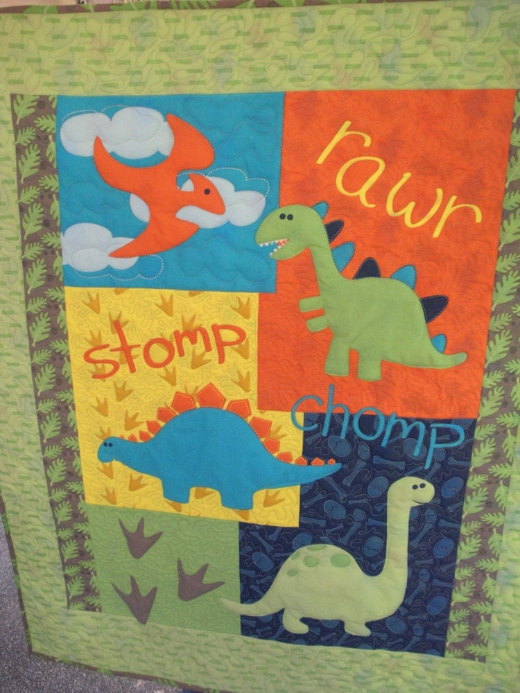 Dinosaurs Stomp Baby Or Child Quilt Gender Neutral