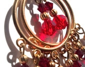 Clearance Sale - Red and Gold Swarovski Hoop Earrings, Holiday Gift