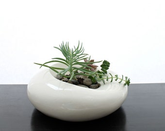 Large Sculptural Planter - White