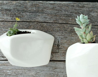 Angled White Wall-hanging Planter