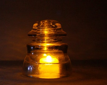 Upcycled Clear Glass Electric Insulator Lamp with LED Tea Light