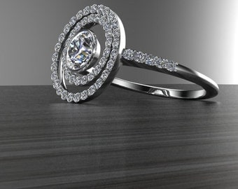 Orbit diamond engagement ring