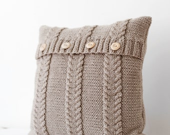 Cable hand knitted beige pillow cover - handmade decorative pillows case - natural earth color living and home decor 16x16  0187