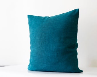 Teal blue pillow cover - classic style decorative pillows case - peackock solid  throw pillows14x14/16x16/18x18/20x20/22x22      0067