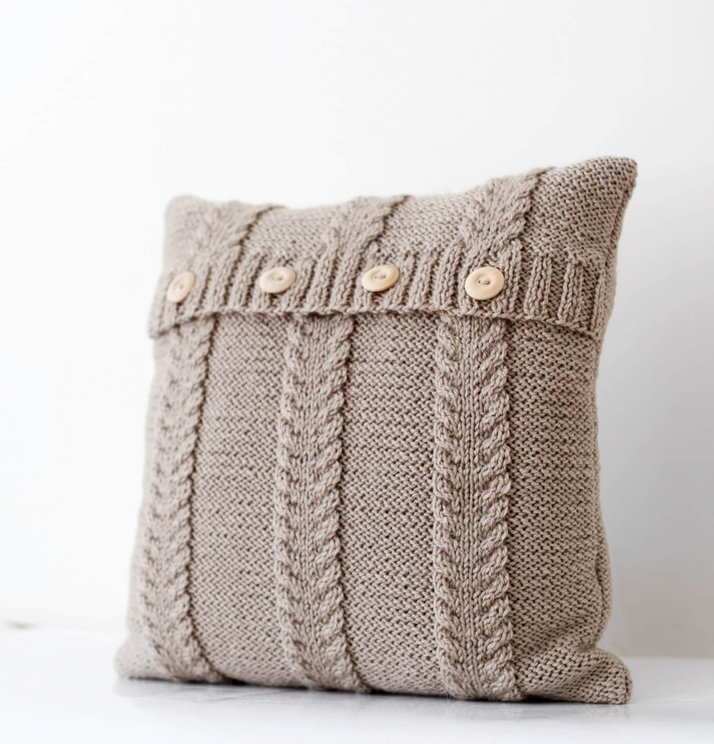 handmade pillows cable knitted beige pillow cover handmade decorative 2189