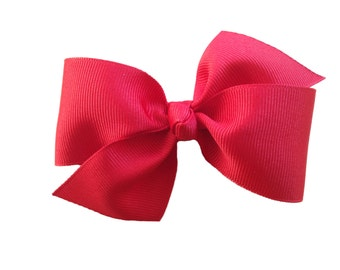 Two loop red hair bow - red bow, 4 inch bow, boutique bow, girls hair bow, toddler bows, red hair bows, girls bows