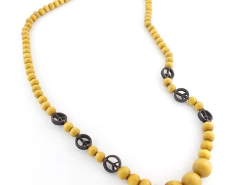 Natural Golden Wood Beads/Peace Sign NECKLACE
