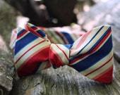 Red, White, Blue, and Coral Striped Adjustable Bow Tie (Self Tie)