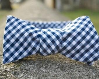 Navy Gingham Bow Tie (Self Tie & Adjustable)