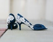 Navy Blue Wedding Heels/Bridal Heels, Navy Heels, Blue Wedding Shoes, Bridal Shoes, Blue Heels, Navy Shoes with Ivory Lace. US Size 7