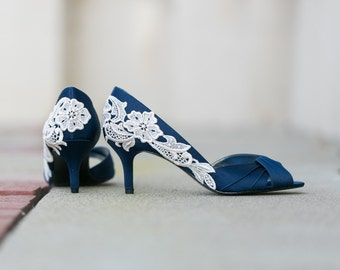 Wedding Shoes - Navy Blue Wedding Heels/Bridal Shoes, Navy Heels, Blue Heels, Navy Pumps, Bridesmaid Gift, Blue Bridal Heels with Ivory Lace