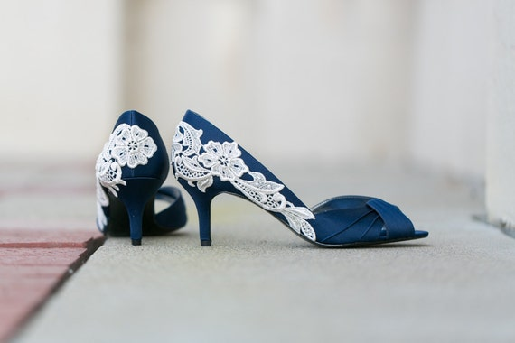 Wedding shoes navy blue wedding heelsbridal shoes navy like this item junglespirit Choice Image