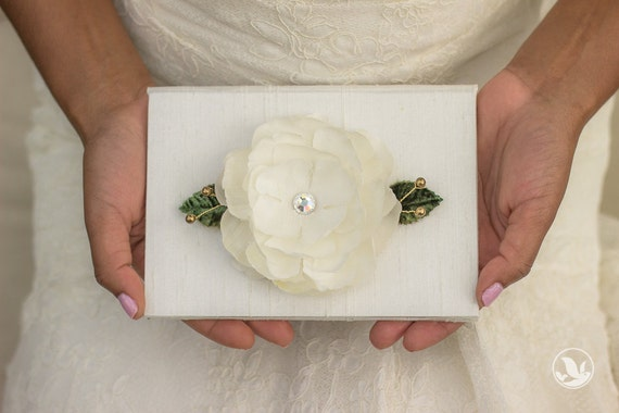Vow Holder™ Wedding Vows Framed - Floral Beads and Bloom - Silk Vow Folio - Wedding Vow Book