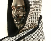 Black and white SCARF HOOD for women, black hooded shawl REVERSIBLE: black wool plus black white wool with geometric pattern, hooded scarf