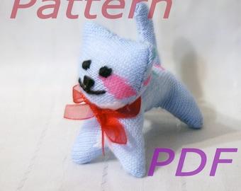 Amusing Blue Kitten - Sock Toy - PDF Pattern