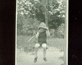 Swinging Vintage Photo Antique Photograph Tiny Boy in Hat