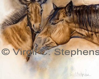 Horse art, Bay Watch, print from the original oil painting of a mare and her new foal, horse artwork, filly painting, western art of horses