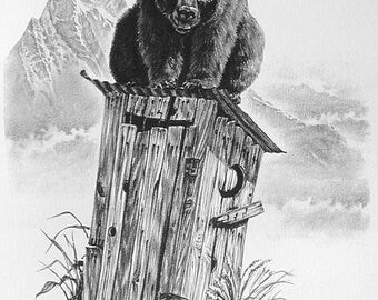 Outhouse art, How Big A Boy Are Ya, outhouse drawing of a bear on an old outhouse on the ranch.  Bear art, outhouse art
