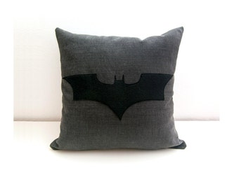 Batman cushion cover, grey and black, decorative pillow, nerd pillow, cojín del sofá, dorm pillow, cushions