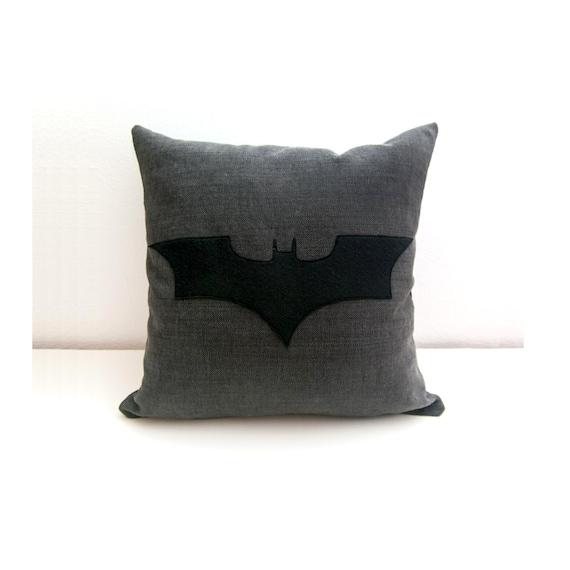 Decorative Pillows Black And Grey : Batman cushion cover grey and black decorative pillow nerd