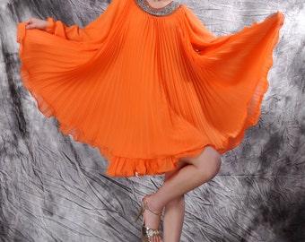 orange chiffon pleated dress,beading dress,chiffon dress,Pleated dress,long sleeve dress,chiffon maxi dress,spring dress,summer dress