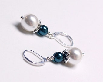 SALE White and Navy Pearl Dangle Earrings - White and Dark Blue Pearl Drops, Gift, Bridesmaid Earrings, Wedding Jewelry