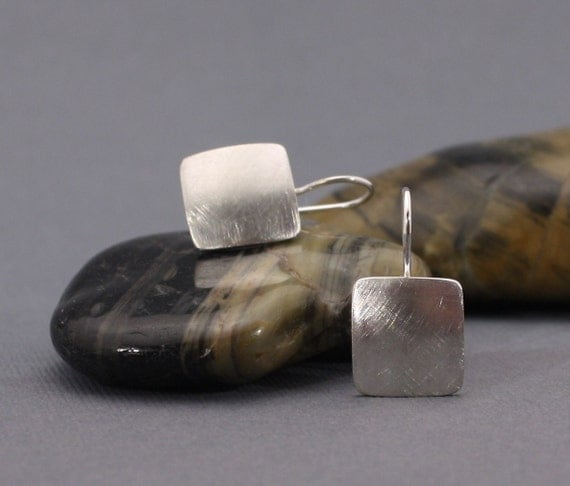 """Modern Rounded Textured Squares of Sterling Silver - """"Simply Silver 2"""" -  Textured Square Earrings"""