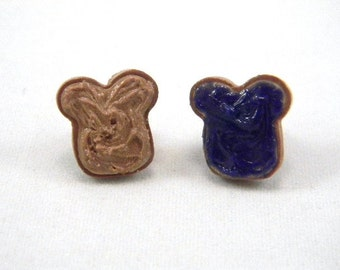 Blackberry Jam and Peanut Butter Post Earrings, PB and J Earrings